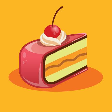 porcion de pastel: Vector pedazo de pastel ilustraci�n Vectores