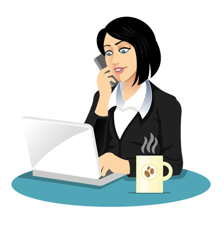 woman on phone: Vector secretary illustration Illustration