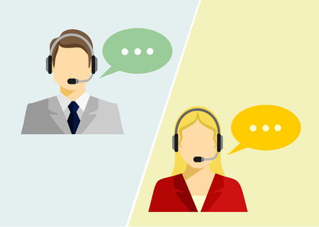 Vector call center avatar flat icons