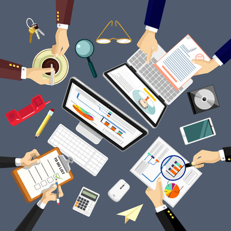 conference table: Vector workplace illustration