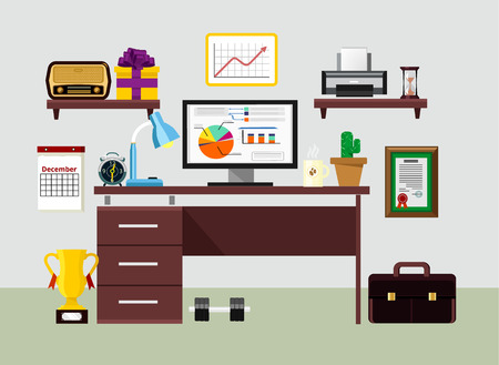 office manager: Vector flat workplace illustration