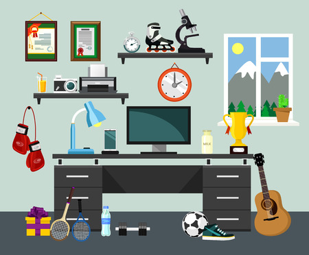 educated: Vector home workplace illustration Illustration