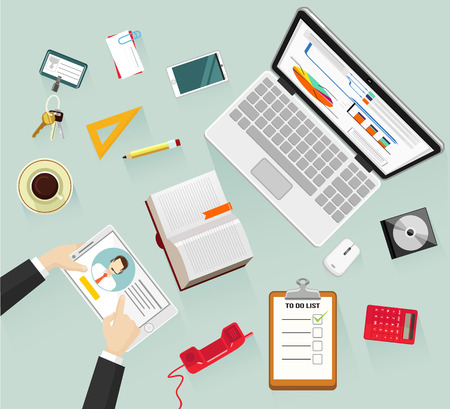 educated: Vector workplace flat illustration