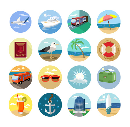 bulding: Vector holiday flat icon set