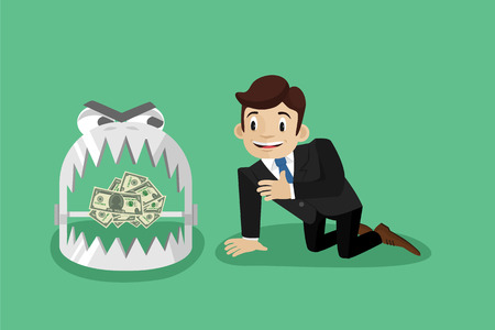 bear trap: Money trap. Vector flat illustration Illustration