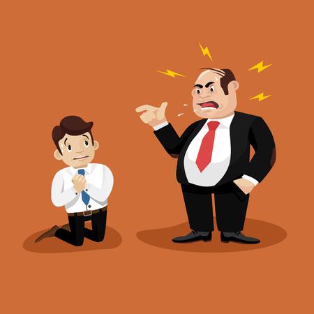 jefe enojado: Jefe grita en trabajador