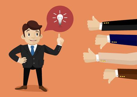 Businessman feedback. Like and dislike Stock Illustratie