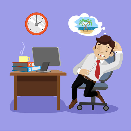 Sleeping businessman. Vector flat illustration Illustration
