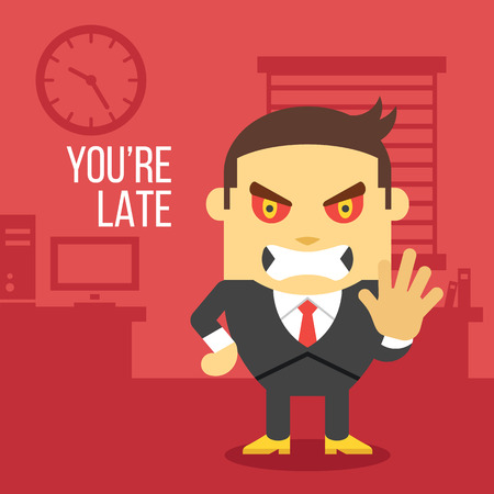 absent: Angry boss. Creative vector illustration.