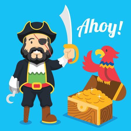 Piraat met sabel, papegaai en schatkist