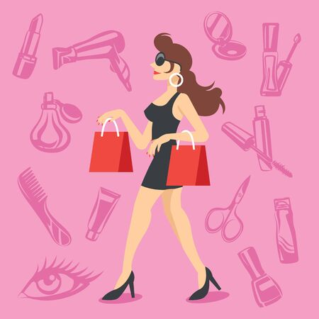 Attractive woman with shopping bags and cosmetics icons set Vector