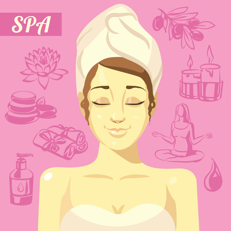 closing: Women with closing eyes and hand drawn spa icons set