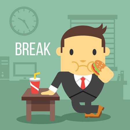 Office worker eating hamburger. Break time concept.