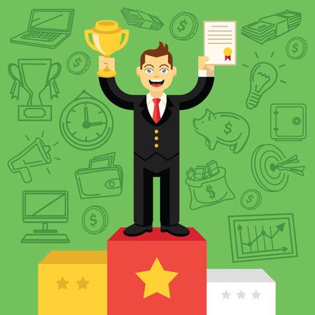hombres ejecutivos: Hombre de negocios feliz con la taza de oro de pie sobre pedestal Vectores