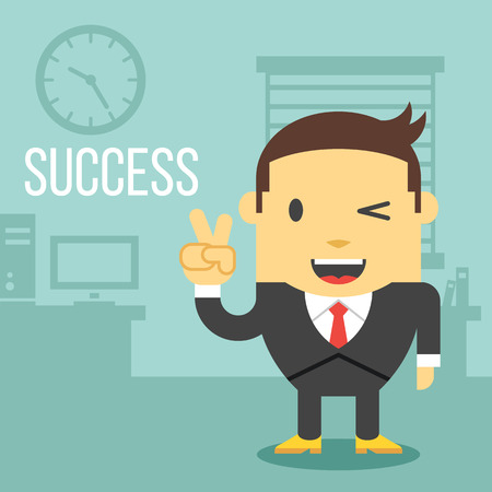 business desk: Happy office worker showing ok sign Illustration