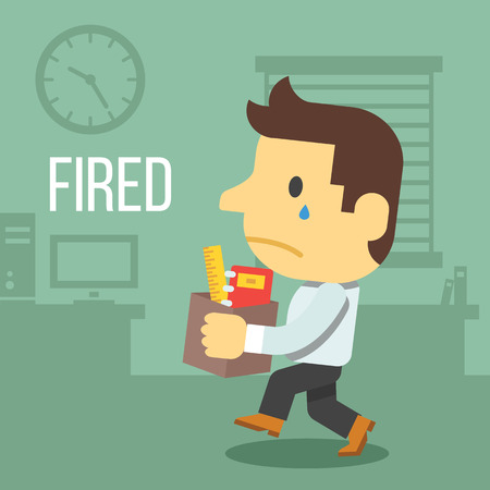 kicked out: Fired office worker Illustration