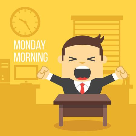 perezoso: Bostezar oficinista. Concepto lunes por la mañana. Vectores