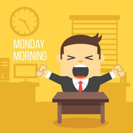 office workers: Yawning office worker. Monday morning concept. Illustration