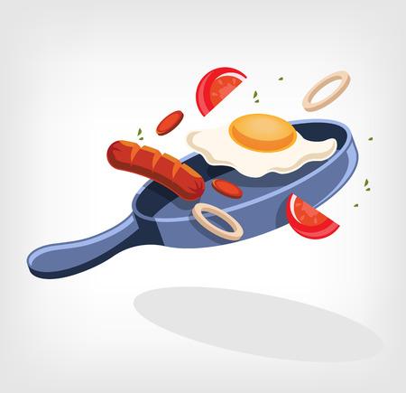 scrambled: Scrambled eggs. Vector illustration Illustration