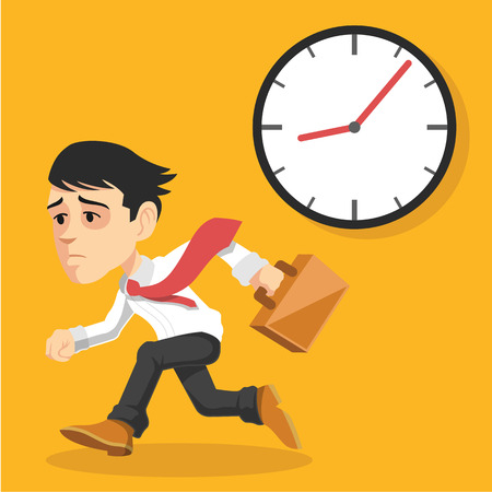 bussinesman: Businessman runs. Vector flat illustration Illustration