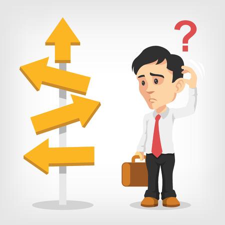 confundido: El hombre de negocios est� pensando. Vector ilustraci�n plana