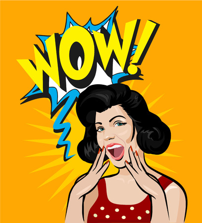 Surprised woman face. Vector pin up illustration