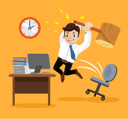 work on computer: Hard work. Angry businessman. Vector flat illustration