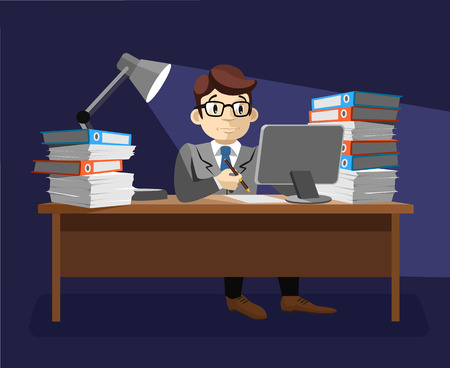 stressed businessman: Hard work. Vector flat illustration