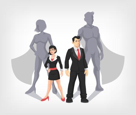 mujer con maleta: Hombre de negocios y mujer de negocios son superhéroes. Ilustración vectorial