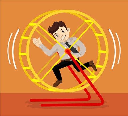 hamster: Businessman runs. Vector flat illustration Illustration
