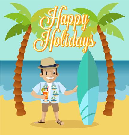 tour operator: Happy tourist flat illustration