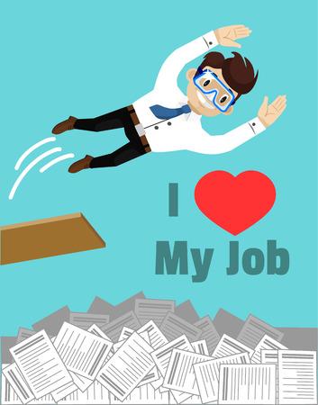 exalted: I love my job. Vector flat illustration Illustration