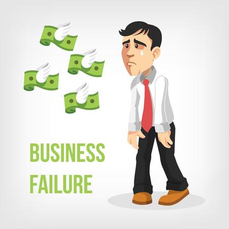 moneyless: Businessman loss money. Vector flat illustration Illustration