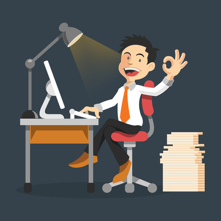 man working on computer: Good work. Vector flat illustration