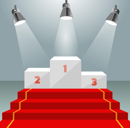 Illuminated winner pedestal with red carpet Illustration