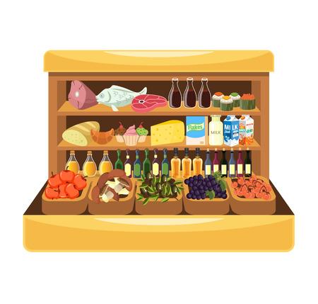 Supermarket shelf with food. Vector illustration