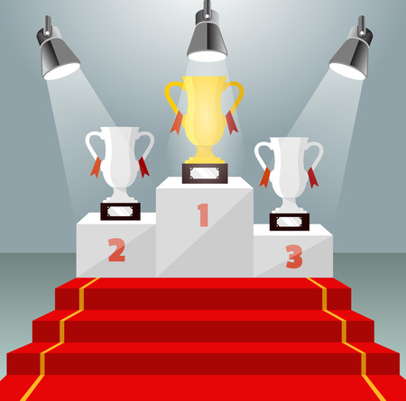 Gold cup. Illuminated winner pedestal with red carpet. Vector illustration