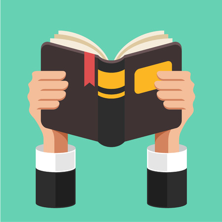 Book in hands. Vector flat illustration Ilustrace