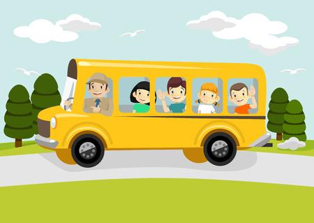 bus driver: Ilustraci�n vectorial de la escuela Vectores