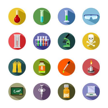 pharmaceutics: Vector science flat icon set Illustration