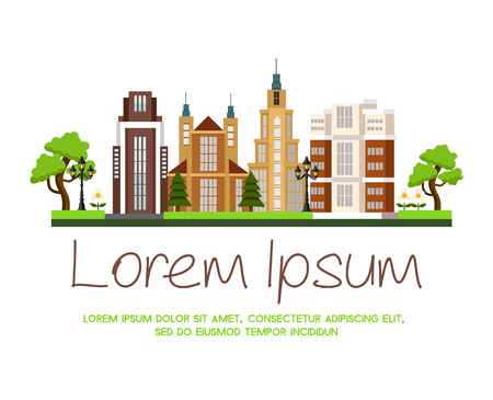 urban building: Vector modern urban building cityscape illustration