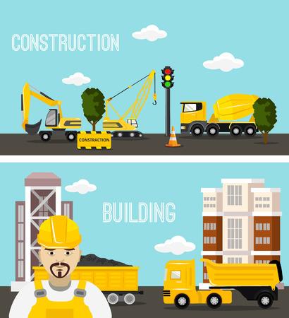 concrete blocks: Construction and building concept vector flat illustration Illustration