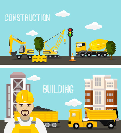 Construction and building concept vector flat illustration Illustration