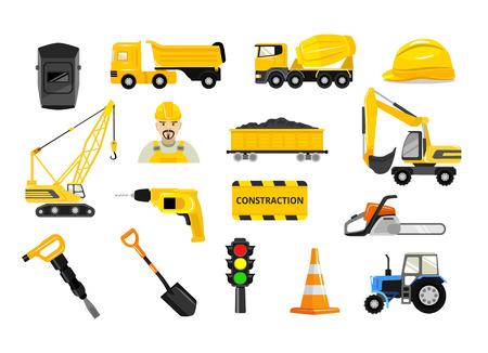 tractor warning sign: Vector construction flat icons set Illustration