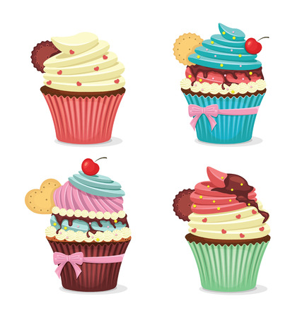 fancy: Vector cup cake set