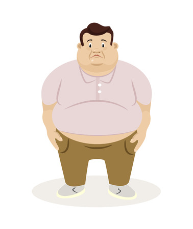 Fat man. Vector flat illustration Иллюстрация