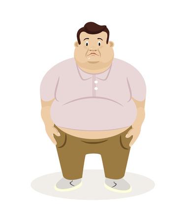 hombre caricatura: Hombre gordo. Vector ilustración plana