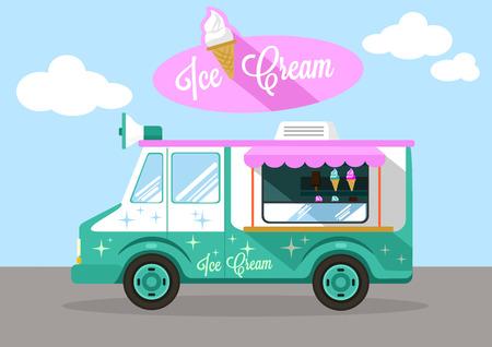 Vector ice cream flat illustration Vector