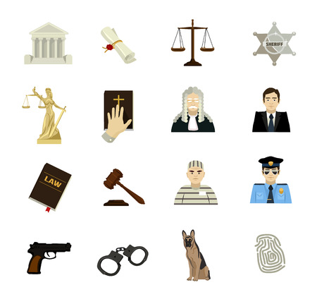 law and order: Law vector icon flat set