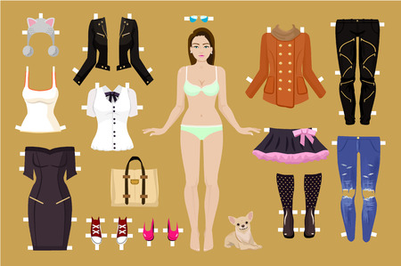 Vector paper doll illustration Vector